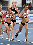 Jul 25, 2019; Des Moines, IA, USA; Shelby Houlihan (left) and Nikki Hiltz lrun in a women's 1,500m heat during the USATF Championships at Drake Stadium.