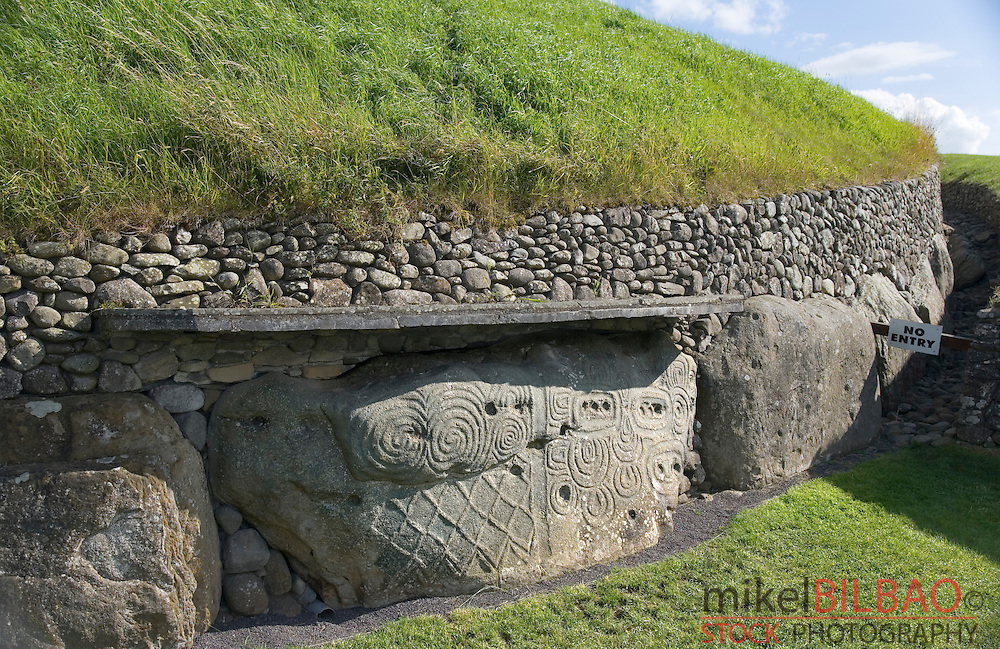 stone with megalithic art.  <br /> Newgrange passage tomb. Br&uacute; na B&oacute;inne. Meath County, Republic of Ireland.