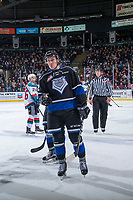 KELOWNA, CANADA - DECEMBER 30: Spencer Gerth #12 of the Victoria Royals reacts to a call against the Kelowna Rockets on December 30, 2017 at Prospera Place in Kelowna, British Columbia, Canada.  (Photo by Marissa Baecker/Shoot the Breeze)  *** Local Caption ***