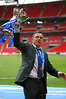 Torquay United Manager Paul Buckle with the play off final trophy<br /> Cambridge United vs Torquay United<br /> Blue Square Premier Play-Off Final at Wembley Stadium 17/05/2009<br /> Credit Colorsport / Shaun Boggust
