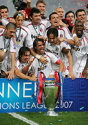 Athens, Greece - Wednesday, May 23, 2007: AC Milan's players celebrate winning the seventh European Cup after beating 2-1 Liverpool during the UEFA Champions League Final at the OACA Spyro Louis Olympic Stadium. (Pic by David Rawcliffe/Propaganda)