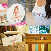 Logo use examples for Yogaloha in Waikiki, Honolulu, Hawaii. The logo is used for various materials such as signage, cards, stickers, tank tops, fliers and website.