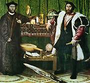 The Ambassadors', ,  (1533):  Jean de Dinteville (1504-1555) and Georges de Selve (1508-1551), Bishop of Lavaur, ambassadors at the court of Henry VIII of England. Hans Holbein the Younger (1497-1543) German-born artist.   Condition before cleaning.