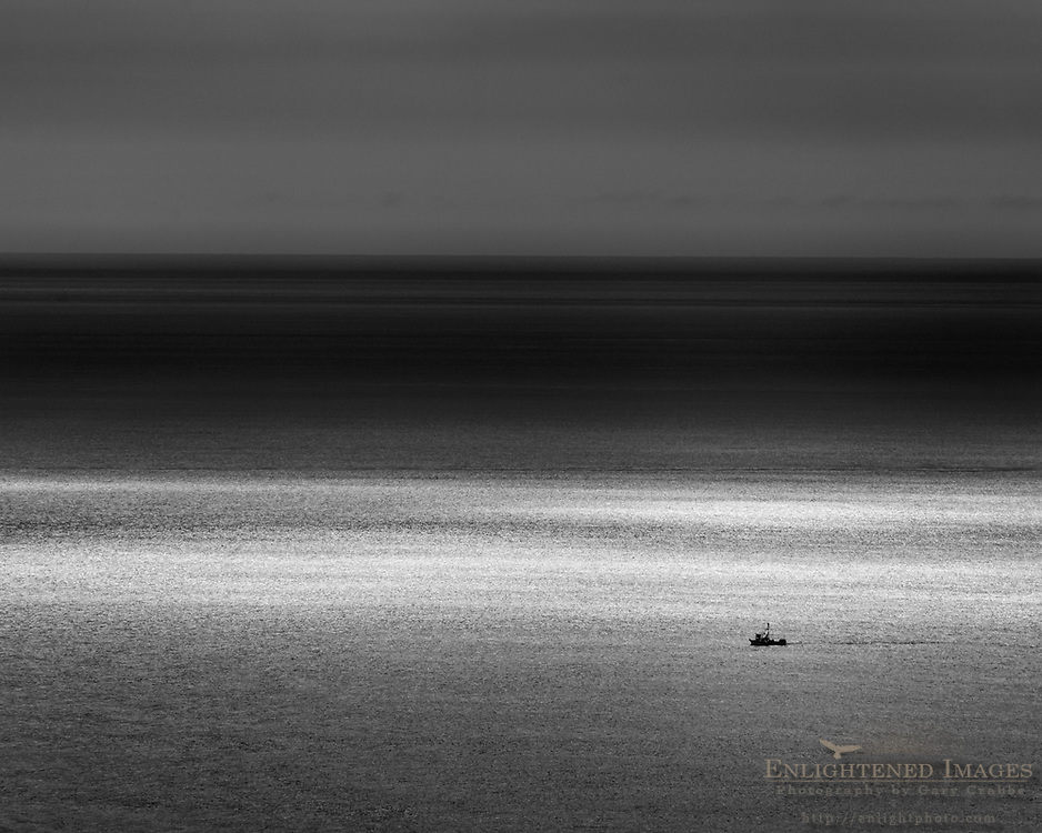 Fishing boat in the Pacific Ocean seen from Point Reyes National Seashore, Marin County, California