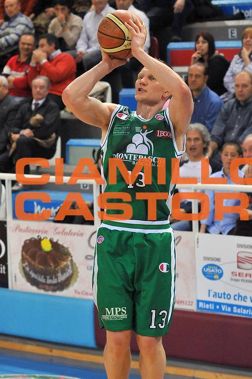 DESCRIZIONE : Rieti Lega A 2008-09 Solsonica Rieti Montepaschi Siena<br /> GIOCATORE : Rimantas Kaukenas<br /> SQUADRA : Montepaschi Siena<br /> EVENTO : Campionato Lega A 2008-2009<br /> GARA : Solsonica Rieti Montepaschi Siena<br /> DATA : 05/04/2009<br /> CATEGORIA : Tiro<br /> SPORT : Pallacanestro<br /> AUTORE : Agenzia Ciamillo-Castoria/E.Grillotti