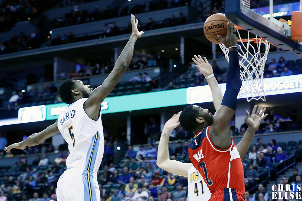 08 March 2017: Washington Wizards guard John Wall (2) goes for the layup during the Washington Wizards 123-113 victory over the Denver Nuggets, at the Pepsi Center, Denver, Colorado, USA.