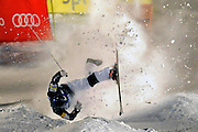 Joseph Discoe (USA) takes a tumble competing during the men's moguls finals at Deer Valley Ski Resort on Thursday, January 9, 2014.