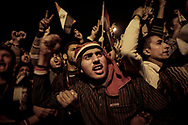 Dismayed protesters in Cairo's Tahrir Square listen to Egyptian President Hosni Mubarak announcing he is not stepping down despite growing protests in Egypt. 10 February 2011.