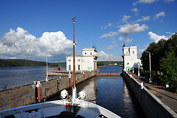 One of the many locks on the Volga-Baltic Waterway near Lake Onega. The route is a combination of natural lakes, rivers, canals and reservoirs between St. Petersburg and Moscow, Russia, a distance of 700 miles.