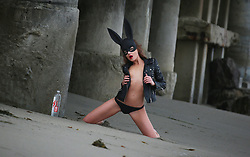 Russian Model and actress Natalia Borowsky wears bunny hears and a sexy leather jacket before going topless on the set of a 138 Water Photoshoot at a Private Beach in Southern California. 19 Jun 2018 Pictured: Natalia Borowsky. Photo credit: FIA / MEGA TheMegaAgency.com +1 888 505 6342