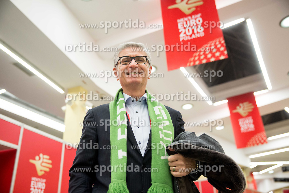 Franjo Bobinac, president of RZS prior to the handball match between National teams of Slovenia and Spain on Day 4 in Preliminary Round of Men's EHF EURO 2016, on January 18, 2016 in Centennial Hall, Wroclaw, Poland. Photo by Vid Ponikvar / Sportida
