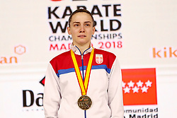 November 10, 2018 - Madrid, Madrid, Spain - Prekovic Jovana (SRB) win the gold medal and win the tournament of Female Kumite -61 Kg during the Finals of Karate World Championship celebrates in Wizink Center, Madrid, Spain, on November 10th, 2018. (Credit Image: © AFP7 via ZUMA Wire)