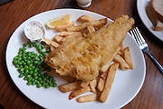 Cod Fish and Chips at a London pub, UK