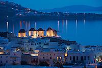 Grèce, Les Cyclades, Ile de Mykonos, Ville de Chora, les cinq moulins (Kato Mili) // Greece, Cyclades, Mykonos island, Chora, Mykonos town, windmills (Kato Mili)