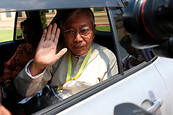 Newly elected president of Myanmar U Htin Kyaw waves to media in Nay Pyi Taw, Myanmar, March 15, 2016. U Htin Kyaw from Myanmar's ruling National League for Democracy (NLD), led by Aung San Suu Kyi, won the presidential election Tuesday through a secret ballot, thus becoming the country's new president for the next five-year term, (lyi). EXPA Pictures © 2016, PhotoCredit: EXPA/ Photoshot/ U Aung<br /> <br /> *****ATTENTION - for AUT, SLO, CRO, SRB, BIH, MAZ, SUI only*****