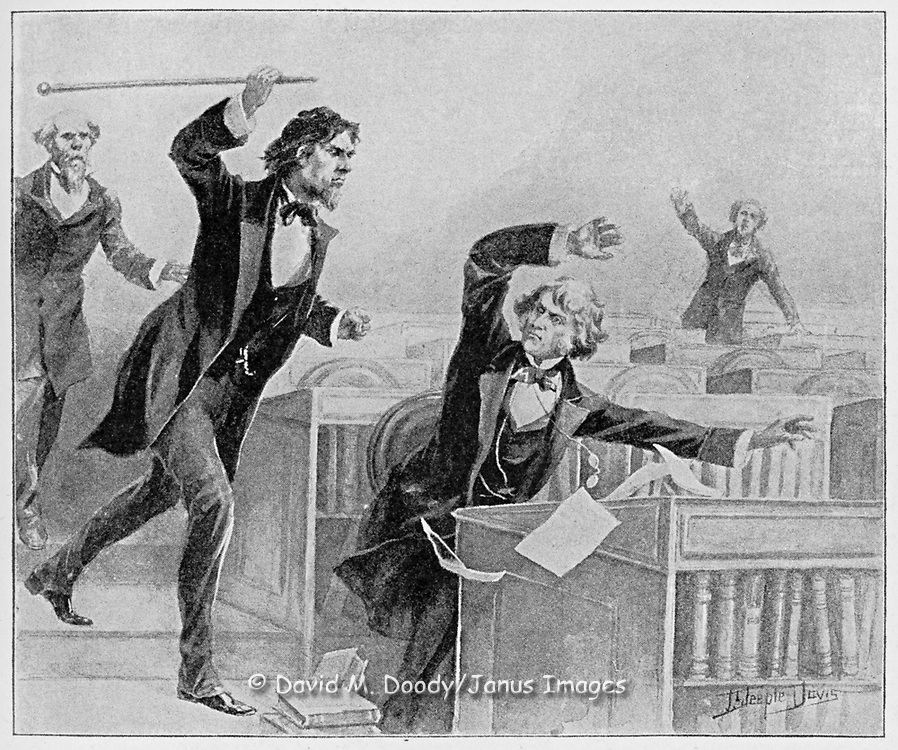 Vintage Illustration:  Assualt upon senator Sumner by Senator Brooks. Brooks beat  Sumner to a bloody pulp in the Senate Chambers in the Capitol prior to the Civil War 1856 . Brooks became a hero to many southerners for his extreme defence of southern honor.