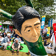 TOKYO, JAPAN - MAY 1 : Japanese PM Shinzo Abe's effigy during the May Day Rally in Tokyo, Japan on May 1, 2017. (Photo by Richard Atrero de Guzman/NUR Photo)