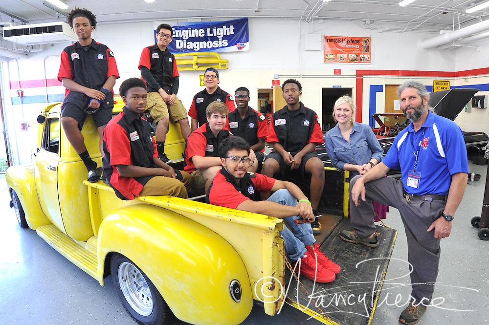 CTE - Automotive Technology    NMHS   Teacher (in blue) is Jarod Brown.