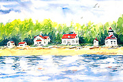 "Point Robinson Waterfront. Vashon Island, WA. Watercolor. 12x16"". ©JoAnn Hawkins"