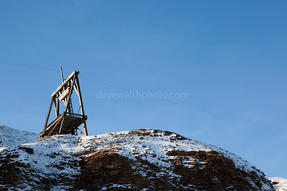 Old coal mining machinery, Longyearbyen, Svalbard. Coal mining was the basis for the creation of Longyearbyen, 1300km from the North Pole. Now the remains are left as historic reminders of the past, while coal mines elsewhere in Spitsbergen are now the main focus.