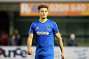 AFC Wimbledon striker Lyle Taylor (33) smiling after final whistle during the The FA Cup match between AFC Wimbledon and Charlton Athletic at the Cherry Red Records Stadium, Kingston, England on 3 December 2017. Photo by Matthew Redman.