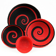 Group Bowls; Red and black swirl