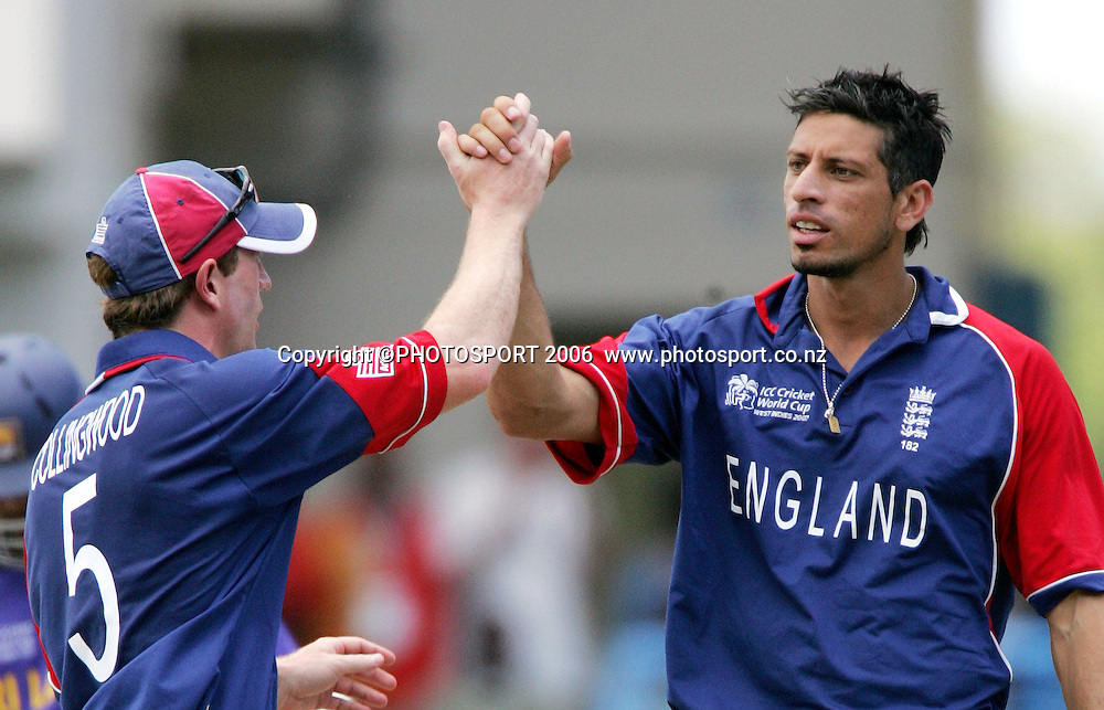 England bowler Sajid Mahmood celebrates taking the wikcet of Russell Arnold during the Super 8 Cricket World Cup match, England v Sri Lanka at the Sir Vivian Richards Cricket Ground in Antigua, West Indies on Wednesday 4 April 2007. Sri Lanka batted first and scored 235. &quot;NO AGENTS&quot; Photo: Andrew Cornaga/Photosport.<br /> <br /> <br /> 040407