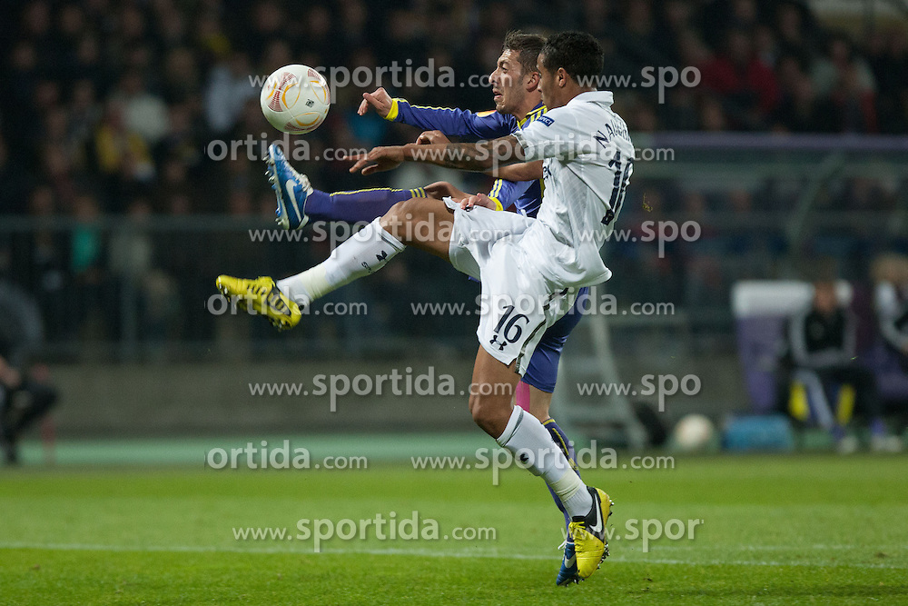 Agim Ibraimi #10 of Maribor and Kyle Naughton #16 of Tottenham  during football match between NK Maribor (SLO) and Tottenham Hotspur FC (UK) in 3rd Round of Group Stage of UEFA Europa league 2013, on October 25, 2012 in Stadium Ljudski vrt, Maribor, Slovenia. (Photo By Gregor Krajncic / Sportida)