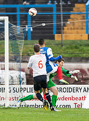Falkirk's keeper Michael McGovern saves from Cowdenbeath's Kane Hemmings.<br /> Cowdenbeath 0 v 2 Falkirk, Scottish Championship game today at Central Park, the home ground of Cowdenbeath Football Club.<br /> &copy; Michael Schofield.