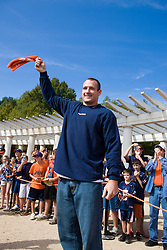 Former Virginia tight end Heath Miller before the start of the ECU game.  The Virginia Cavaliers defeated the East Carolina Pirates 35-20 in NCAA football at Scott Stadium on the Grounds of the University of Virginia in Charlottesville, VA on October 11, 2008.