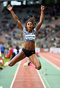 Caterine Ibarguen (COL) places fourth in the women's long jump at 20-6½ (6.26m)during the IAAF Diamond League final at the 44th Memorial Van Damme at King Baudouin Stadium, Friday, Sept. 6, 2019, in Brussels, Belgium. (Jiro Mochizuki/Image of Sport)