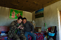 Photographer Li Yuliang with Mongolian Shepherd Ge Ri Li Ao De in his home, checking out the latest We Chat posts, Inner Mongolia, China