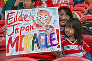 Japan fans during the Rugby World Cup Pool B match between Scotland and Japan at the Kingsholm Stadium, Gloucester, United Kingdom on 23 September 2015. Photo by Shane Healey.
