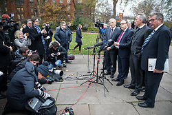 © Licensed to London News Pictures. 05/12/2017. London, UK. Deputy Leader of the Democratic Unionist Party (DUP) Nigel Dodds makes a statement in Victoria Tower Gardens regarding the Brexit negotiations and the DUP's stance. Photo credit : Tom Nicholson/LNP