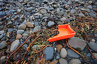 Plastic garbage washed up on the shore, Ireland