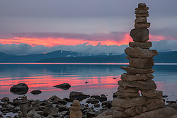 """Cairn at Lake Tahoe 1"" - This cairn or man made stack of rocks, was photographed at sunset in Kings Beach, Lake Tahoe."