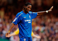Photo: Henry Browne.<br /> Arsenal v Chelsea. FA Community Shield. 07/08/2005.<br /> Didier Drogba acknowledges the Chelsea fans.