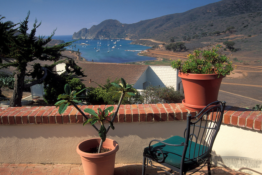 View of Catalina Harbor from the deck of the Banning House Lodge, Two Harbors, Catalina Island, California