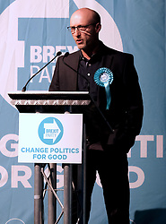 Brexit Party Rally, Edinburgh, Friday 17th May 2019<br /> <br /> The Brexit Party held a rally in the Corn Exchange, Edinburgh today with leader Nigel Farage giving a speech.<br /> <br /> A protest was held outside by the Stand Up To Racism group.<br /> <br /> Pictured: Brexit Party EU candidate Stuart Waiton.<br /> <br /> Alex Todd | Edinburgh Elite media