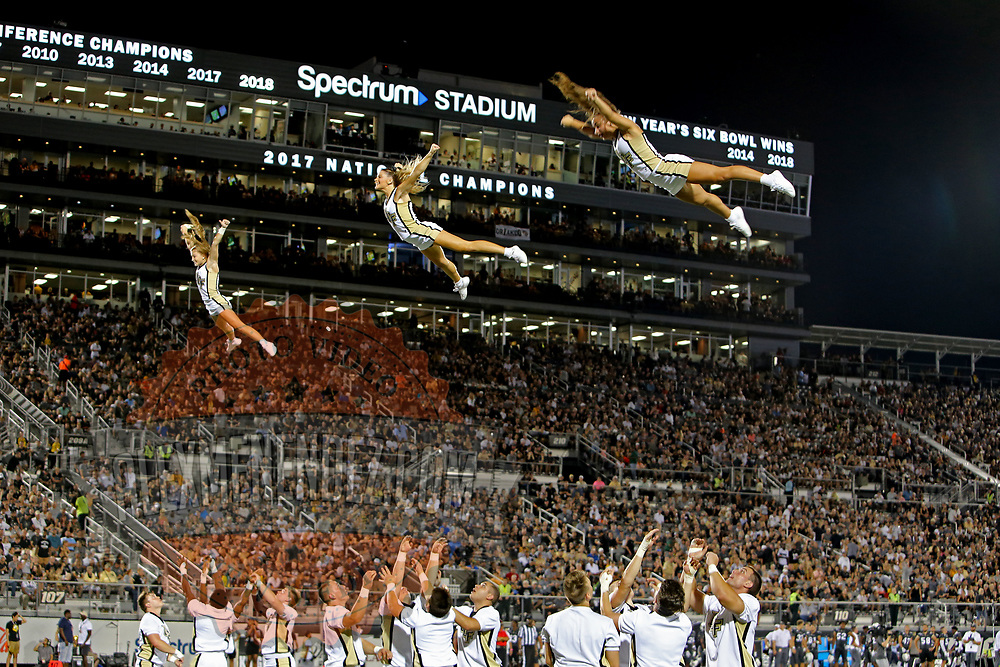 ORLANDO, FL - AUGUST 29: UCF cheerleaders perform during a timeout during a NCAA football game between the Florida A&M Rattlers and the UCF Knights on August 29 2019 in Orlando, Florida. (Photo by Alex Menendez/Getty Images) *** Local Caption ***