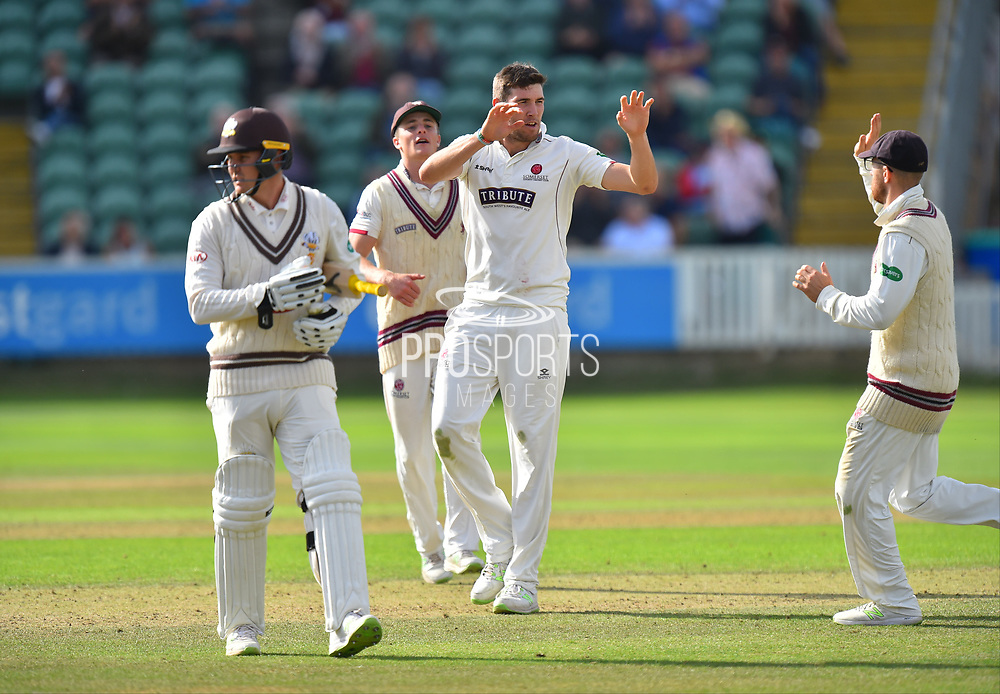 Wicket - Jamie Overton of Somerset celebrates taking the wicket of Jason Roy of Surrey during the opening day of the Specsavers County Champ Div 1 match between Somerset County Cricket Club and Surrey County Cricket Club at the Cooper Associates County Ground, Taunton, United Kingdom on 18 September 2018.