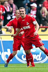 13.02.2010,  Rhein Energie Stadion, Koeln, GER, 1.FBL, FC Koeln vs Mainz 05, 22. Spieltag, im Bild: Lukas Podolski (Koeln #10) und Miso Brecko (Koeln #2) bejubeln das 1:0 Torjubel / Jubel  EXPA Pictures © 2011, PhotoCredit: EXPA/ nph/  Mueller       ****** out of GER / SWE / CRO  / BEL ******