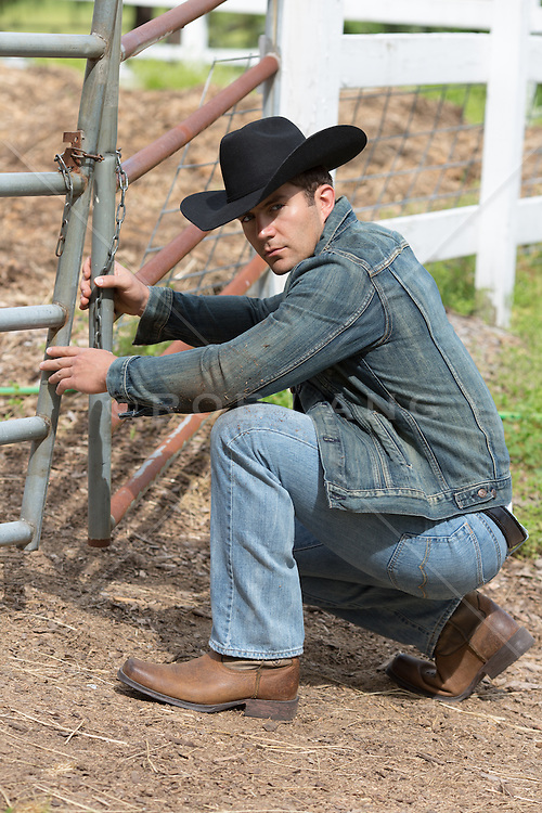 rugged All American cowboy on a ranch