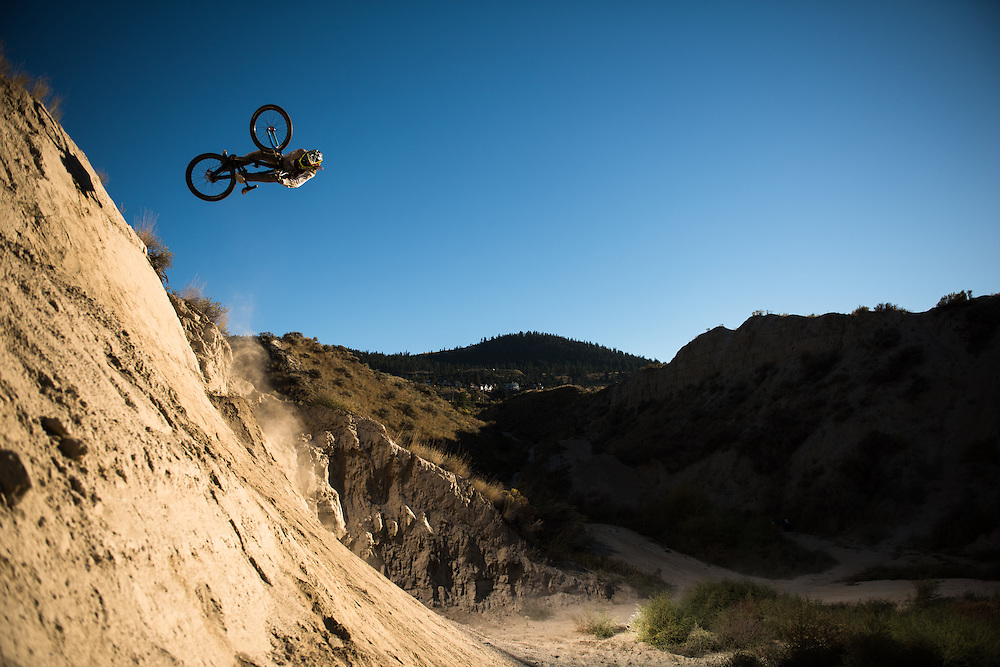 Reilly Horan blasts this dirt quarter in the Kamloops bike ranch.