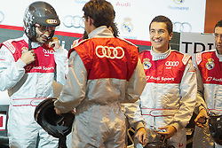 20.10.2011, Real Madrid, Audi's car giving show,im Bild Real Madrid's Hamit Altintop, Kaka and Nuri Sahin joke during AUDI's car giving show. October 18, 2011  // during the Audi's car giving show to real madrid players on 20/10/2011. EXPA Pictures © 2011, PhotoCredit: EXPA/ Alterphoto/ Alvaro Hernandez +++++ ATTENTION - OUT OF SPAIN/(ESP) +++++