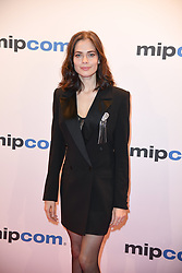 Yulia Snigir poses as arriving for the opening ceremony of the MIPCOM in Cannes - Marche international des contenus audiovisuels du 16-19 Octobre 2017, Palais des Festivals, Cannes, France.<br />
