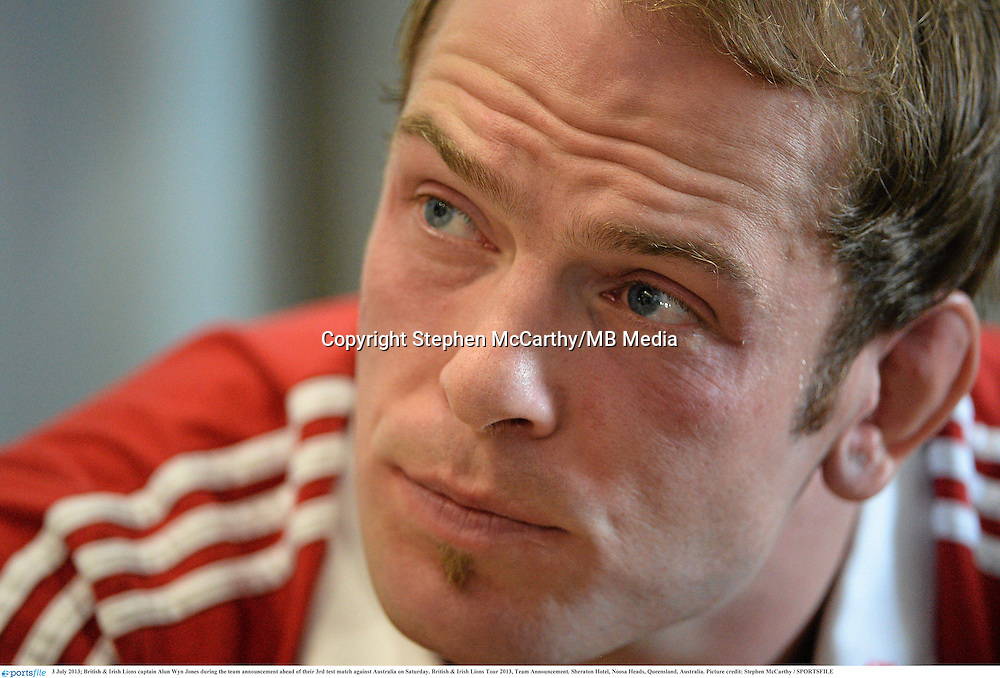 3 July 2013; British & Irish Lions captain Alun Wyn Jones during the team announcement ahead of their 3rd test match against Australia on Saturday. British & Irish Lions Tour 2013, Team Announcement. Sheraton Hotel, Noosa Heads, Queensland, Australia. Picture credit: Stephen McCarthy / SPORTSFILE