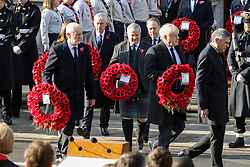 © Licensed to London News Pictures. 10/11/2019. London, UK. Prime Minister Boris Johnson, Leader of the Labour Party, Jeremy Corbyn and Leader of the Scottish National Party, Ian Blackford attend the Remembrance Sunday ceremony at the Cenotaph memorial in Whitehall, central London. Remembrance Sunday is held each year to commemorate the service men and women who fought in past military conflicts. Photo credit: Dinendra Haria/LNP