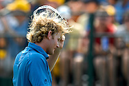Brandt Snedeker acknowledges the gallery after completing his round on the 18th green during the final round of the Wyndham Championship at Forest Oaks Country Club in Greensboro, North Carolina.