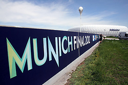 13.05.2012, Allianz Arena, Muenchen, GER, UEFA CL, Allianz Arena, im Bild Allianz Arena Muenchen wird anlaesslich des Finales um die UEFA Champions League umdekoriert und umbenannt; Schriftzug Munich Final 2012 und Fassade des Stadions // the Allianz Arena in Munich is the occasion of the UEFA Champions League Final at the redecorated and renamed, UEFA Champions League logo on the facade of the stadium, Munich, Germany on 2012/05/13. EXPA Pictures © 2012, PhotoCredit: EXPA/ Eibner/ RR     ATTENTION - OUT OF GER *****